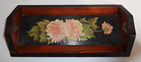 Vintage Hand Painted Wooden Heart Handled Wood Serving Tray Flowers Floral