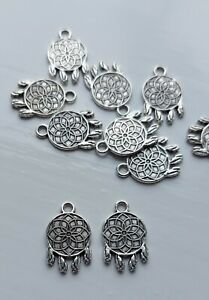 Pack Of 10 Tibetan Silver Dream Catcher Charms 18mm x 12mm