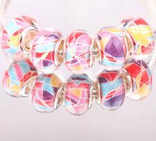 NEW 5pcs SILVER MURANO bead LAMPWORK fit European Charm Bracelet DIY #B12
