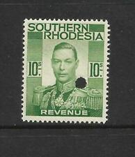 S.RHODESIA,  KGV1 1937 REVENUES 10/-, MNH PRINTERS PROOF, SMALL PUNCH HOLE