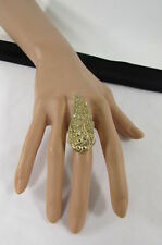 WOMEN FASHION RING LARGE GOLD METAL BIG LONG EAGLE ANGEL WING BEADS RHINESTONE