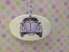 Beautiful Handmade Clay Hanging Lilac VW Beetle Decoration/gift Tag New
