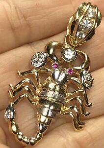 """GOLD 14k scorpion pendant SOLID Real Charm necklace Simulated Ruby diamond 1.90"""""""
