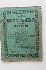 5979 Sächsischer Kameraden Kalender 1932 Militär Jahrbuch Fahnen Schloß Dresden