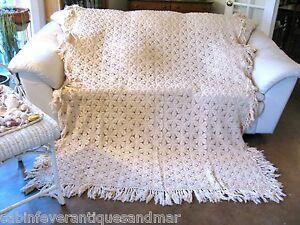 Vintage Tan Crochet 3D Popcorn Snowflake Fringe Bedspread Queen Full Twin 102x70