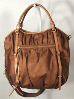 MZ Wallace Bedford Bianca Brown Nylon w. Leather Trims Shoulder Bag