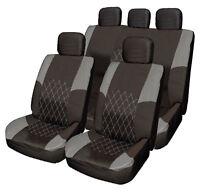 GREY / BLACK Cloth Car Seat Cover Full Set Split Rear Seat for Hyundai i30 i40
