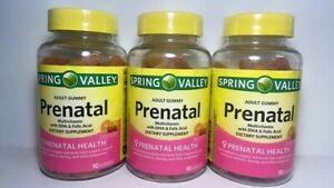 3 PK Spring Valley Adult Prenatal Multi Gummies ~ 90 CT EA ~ EXP 02/22