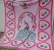 """Vintage Peacocks & Hearts PINK Chenille Bedspread 89 x 100"""" Full/Queen"""