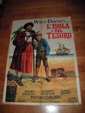 MANIFESTO 2F L'ISOLA DEL TESORO WALT DISNEY 1° EDIZ. ITA 1959 SUPER RARE DRISCOL