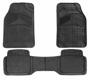 Black UKB4C 3pc Full Set Heavy Duty Rubber Floor Mats fits Dacia Sandero Duster