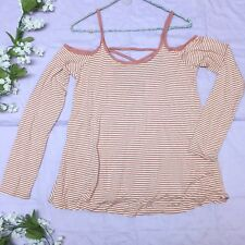 New Long Sleeve Cold Shoulder Top w/ Criss Cross Back - Pink/Cream Stripes (L)