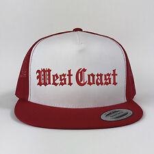 West Coast Flat Bill Trucker Snapback Embroidered Best Coast Cap Hip Hop Black