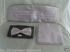 Pale Shiny LILAC Bow Tie + Cummerbund & Hankie>FREE P&P 2UK>1st Class>50 colours