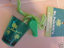 St Patricks Day Shot Glass & Whistle shamrocks new
