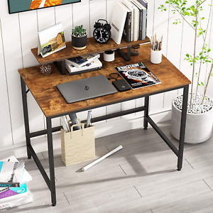 HOMEYFINE Computer Desk,Laptop Table with Storage for Controller,Wood and Table