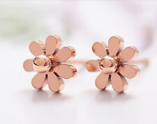 18K GP Rose Gold Titanium Stainless Steel Daisy Stud Earrings