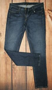 The White Company Ladies Skinny Blue Jeans Denim Trousers UK 12 Cotton Blend