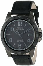 Men`s Timex Rugged Black Wrist Watch T49927 Black Dial Black Leather Strap