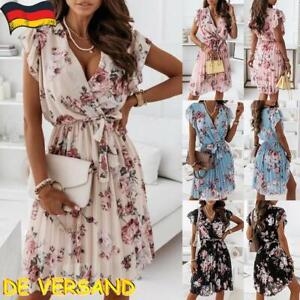 Damen V-Neck Sommerkleid Midikleid Strandkleid Blumen Rüsche Freizeit Partykleid