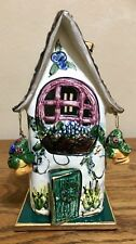 Blue Sky Clayworks Heather Goldminc Hangings Basket Tea Lite House w/Base Rare!