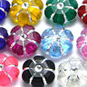 Lot of 100 Assorted 10mm Flat Flower Shaped Acrylic Coin Beads w/ Silver Accents