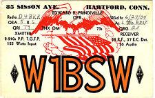 QSL Card HARTFORD Conn. USA 1934 Funk Karte Radio W1BSW   ( 80681
