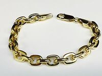 "14kt  Solid Yellow Gold handmade Link Men's Bracelet 9"" 35 grams 8MM"