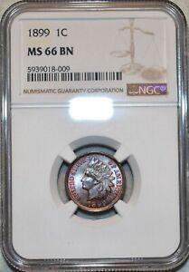 NGC MS-66 BN 1899 Indian Head Cent, Frosty, scarce grade specimen.