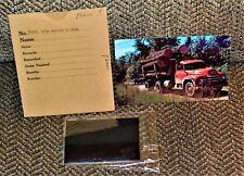 VTG 1950s File Postcard & Original Negative Logging In Michigan