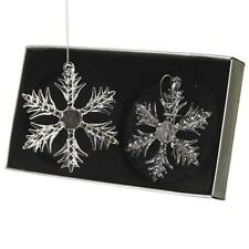 Box Set 2 Clear Glass Snowflake Christmas Tree Decorations by Heaven Sends