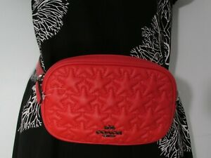 NWT Coach Leather Convertible Belt Bag With Mini Star Quilting 2642 Miami Red