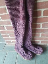 Womens Ugg Australia twisted cable knit over the knee purple/wine colored boot 8