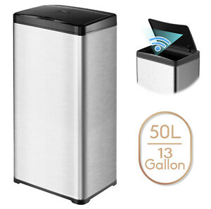 13 Gallon Trash Can Stainless Steel Touchless Motion Sensor Soft Close Lid 50L