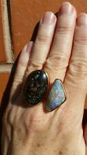Ring, sterling silver, gold and two large solid opals. Size 8, 18, P 1/2