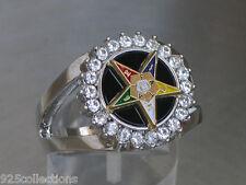 Order of the Eastern Star Clear CZ Stone Black Onyx Rhodium Lady Ring Size 10
