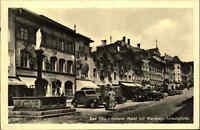 Bad Tölz Bayern AK 1951 Auto Autos Unterer Markt mit dem Weinhaus Schwaighofer