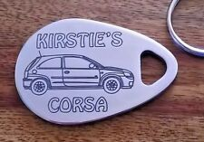 Personalised VAUXHALL CORSA car keyring 3 door (2000-06 model) ANY NAME engraved