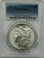1887 S $1 Morgan Silver Dollar PCGS MS 63