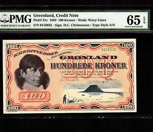 Greenland 100 Kroner 1953 P-21c * PMG Gem Unc 65 EPQ * Very Rare Grade *