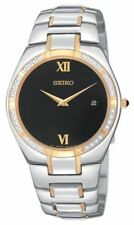 Seiko SKP338 Men's Dress Black Dial Two-Tone Stainless Steel Date Watch