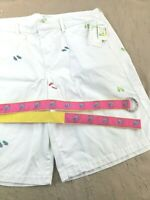 Bamboo Traders Womens Shorts With Embroidered Flip Flops Size 18W Plus White NEW