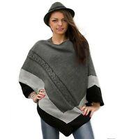 WOMEN LADIES WARM PONCHO JUMPER SWEATER JACKET CAPE WRAP SHAWL 154