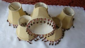 """6 Mini Clip-On Beaded Lamp Shade Brushed Cloth Maroon Gold Brown Beads 4"""""""