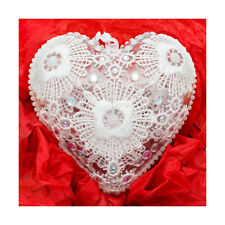 Christmas hand decorated heart baubles guipure lace,Xmas tree decoration,present