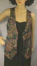 vintage womens vest tapestry 3 buttons pockets waistcoat rayon Rafferty S USA
