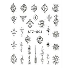 AZTEC Nail Jewellery Black Necklace Stickers Triangle Arrow Water Decals stz504