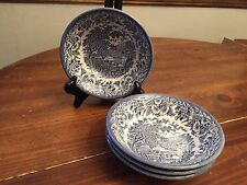 Set of 4 ~ English Ironstone Kingswood Blue Willow ~ Soup Bowls ~ 6 1/2""