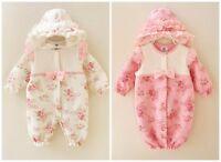 newborn baby girls fall winter warm bodysuit thick Padded jumpers warm sleepbag