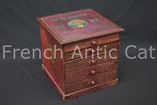P572 Ancien meuble mercerie AU LOUIS D'OR 20 Francs WF coton Chapelle Ciseaux